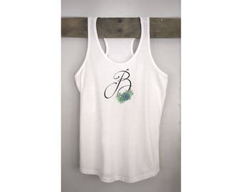Succulent Initial Tank Top for Bridesmaid, Personalized Tank Tops, Bachelorette Party Tank Top, Bride To Be Tank Top, Bachelorette Tank Tops