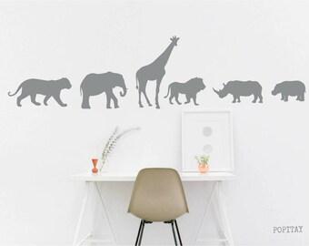 Animal Wall Decals, Nursery Decor, Giraffe Decal, Lion Sticker, elephant decals, safari animals, children decor, hippo sticker, kids gift