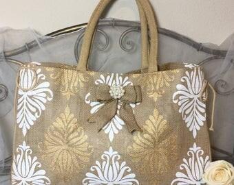 Bridesmaid tote bags, Rustic wedding, Bridesmaid bags, Burlap wedding, Bridesmaid gift, Wedding party, Wedding accessories, Bridesmaid