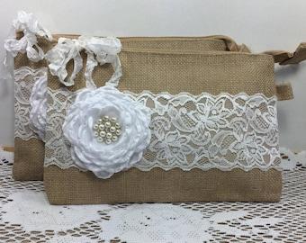 6 Bridesmaid Clutches, Burlap Lace Wedding Clutches, Bridesmaid Gifts, Rustic Wedding, Bridesmaid Bags, Wedding Party Gifts, Burlap Wedding