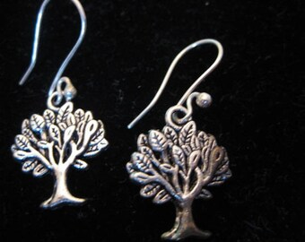 Antiqued Silver Tree of Life Dangle Earrings