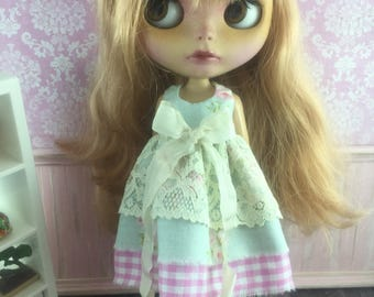 Blythe Vintage Lace Dress - Pink Floral with Gingham