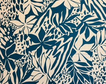 Lycra Fabric Teal Blue Hawaiian Hibiscus Floral Print Lycra Swimwear Dance Wear Fabric Crafts Sewing  Y55