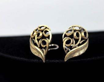 Modernist Leaf Earrings, Brushed Metal, ca. 1960s