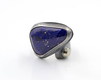 Lapis - Pyrite - Hammered Sterling Silver - Adjustable - Ring