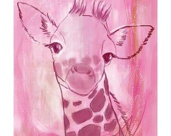 12x16 Inch Nursery Print - Giraffe, Pink