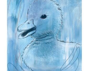 12x16 Inch Nursery Print - Duck, blue