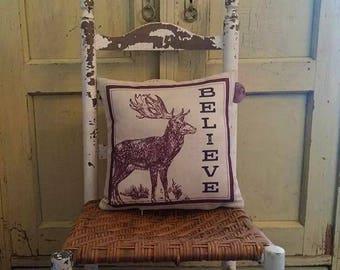 Christmas pillow, Reindeer pillow, Farmhouse decor, Believe