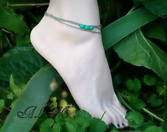 Ankle bracelets triple chains silver colored leaf and turquoise howlite (m25-1)