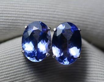 Tanzanite Earrings, 6.16 Carat Tanzanite Stud Earrings, Oval Cut, Sterling Silver, IGI Certified, Anniversary Birthday Christmas Present