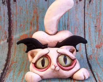 Willy the Wiley Cat Bat polymer clay sculpture,figurine,ring holder,original art,Covington Creations