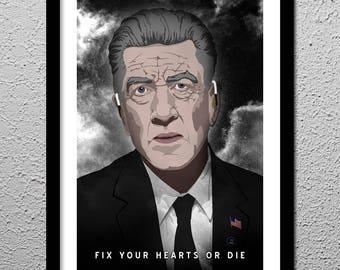 Twin Peaks Gordon Cole Fix Your Hearts or Die - Original Poster David Lynch Art Print