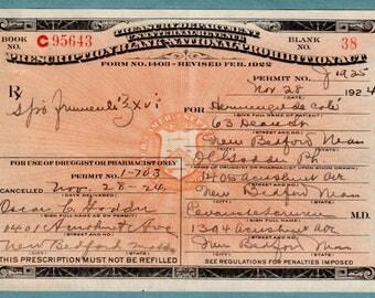 11/28 1924 Cote Prohibition Whiskey Medical Alcohol Liquor Prescription Vintage Pharmacy Doctor Boardwalk Empire Speakeasy New Bedford MA