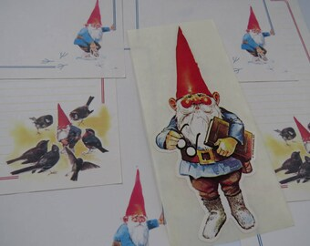 Vintage Gnome Stationery & Oversized Sticker Decal 1970's
