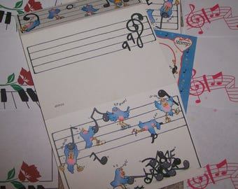 Vintage 1980's Stationery Lot - Musical Theme ~ Pandas ~ Blue Birds