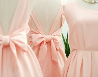Pink blush dress Pink party dress Pink prom dress Pink cocktail dress bow back dress Pink blush bridesmaid dresses Pink dress