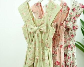 SALE Lolita green dress pink dress white dress floral dress sundress green pink white bridesmaid dress party dress cap sleeve dress