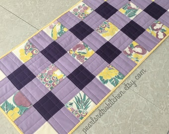 Retro Purple and Yellow Gingham and Fruit Table Runner