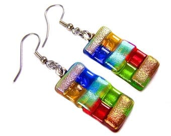 "Dichroic Earrings  - Red Green Orange Yellow Gold Blue Pink Rainbow Striped Dicro - Surgical Steel French Wire Dangle or Clip-On - 1"" 25mm"