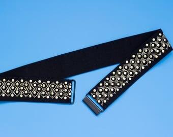 Embellished black cinch waist belt
