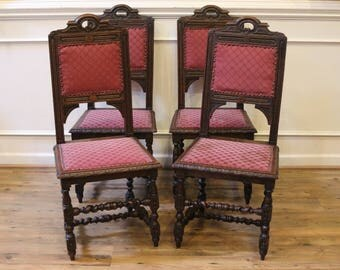 Set of 4 Antique English Oak Barley Twist Dining Chairs, Hand Carved, 19th Century.