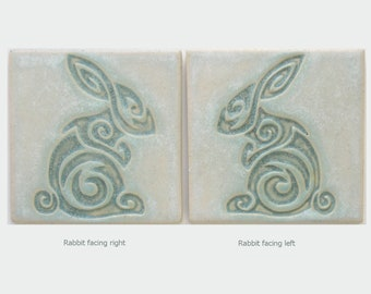 Rabbit Arts and Crafts Handmade Decorative 4x4 MUD Pi tile