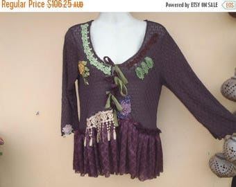"20%OFF bohemian gypsy lagenlook  boho chocolate stretch lace top..medium to 48"" bust..."
