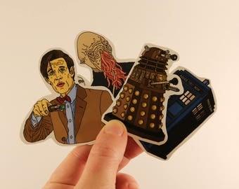 doctor who stickers laptop labels tags - ood tardis dalek matt smith illustration