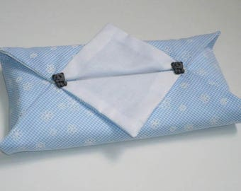 Large case handkerchief blue white gingham baby room