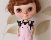 Kitty cat overall dress/ dungaree skirt for Blythe