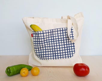 Large shopper bag for women, Shopper, Large tote bag for women, Ethically made reusable shopper, Reusable grocery bag, Farmers market bag