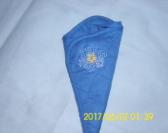 Blue Scissors Holder / Hand Stitched / Upcycled Scissors Holder /  Flower Design / Blue and White Polka Dot Buttons / Household Helper