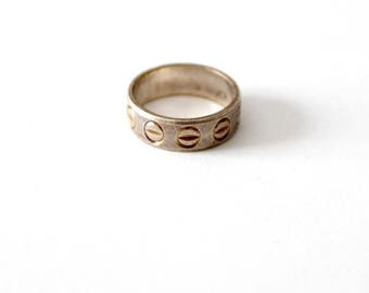 vintage sterling silver ring, Italy 925 etched silver band