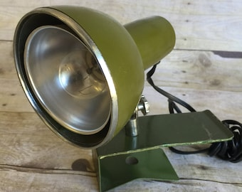 Vintage Bedside Clip On Task Lamp - Green - Chrome - 1950's