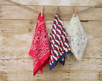 Set of Vintage Bandanas - Red -Cream - Navy Blue - Elephant Bandanna USA FREE SHIPPING Bandannas Trunk Up