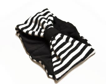 wool HEADBAND- black and white with stripes
