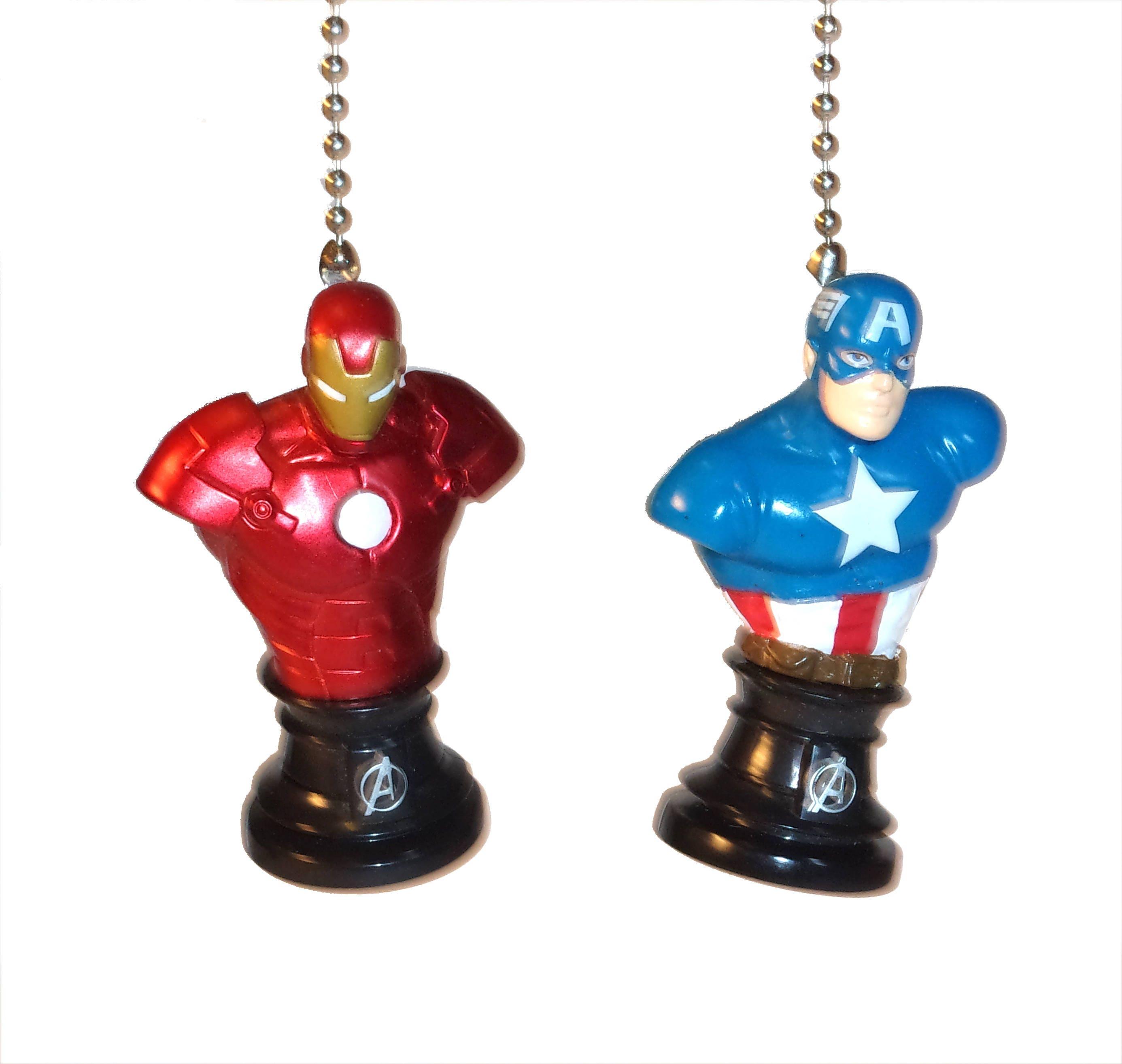 Capt America Vs Iron Man Ceiling Fan Light Pulls  Avengers  Civil War  Kids Room  Decor  Man Cave Decor  Gift for Boys  Gift for Kids. Capt America Vs Iron Man Ceiling Fan Light Pulls  Avengers  Civil