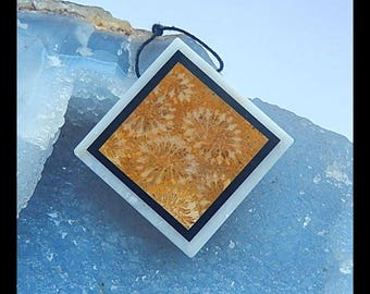 New,Indonesian Fossil Coral,White Jade,Obsidian Intarsia Pendant Bead,33x33x6mm,17.3g(h0106)