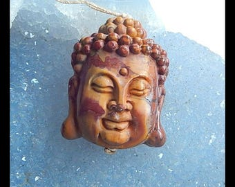 New,Carved Multi-Color Picasso Jasper Buddha Head Pendant Bead,31x25x13mm,13.8g