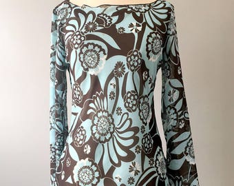 Womens 70 Blue Floral Asymmetrical Top Medium