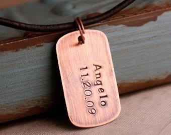 Father's Day Gift / Hand Stamped Copper Dog Tags / Personalized Jewelry for Him / Copper Dog Name Tag with kids name and date