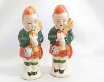 Scottish Bagpiping Children Vintage Salt and Pepper Shakers