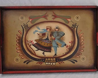 Vintage Toleware Wooden Serving Tray Signed Glenda H. Tole Painting Folk Art