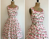Talbots Repro Reproduction 1990s does 1950s 90s does 50s Style Rose Print Sundress Pink And White Floral Dress