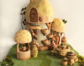Willodel Shroom Home with Loft,  Wishing Well & Shroom Gnomes