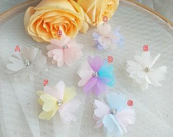 """30pcs 5cm 1.59"""" wide ivory blue dress flower appliques patches T24T18C0129T free ship"""