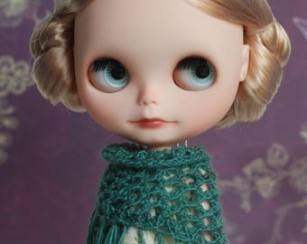 Dusty teal triangle scarf with frays for Blythe