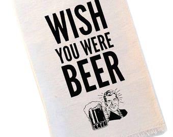 Craft Beer Bar Towel Natural Canvas Wish You Were Beer