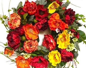 CHRISTMAS IN JULY Peonies and Poppies Silk Floral Indoor Outdoor Wreath Red Orange Yellow Spring Wreath Summer Wreath Fall Wreath Large Appr