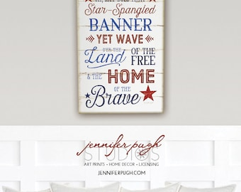 Star Spangled - 12x16 Art Print - Inspirational, Song, Patriotic, Holiday, Country, Vintage, Home, Wall Decor - Red White Blue